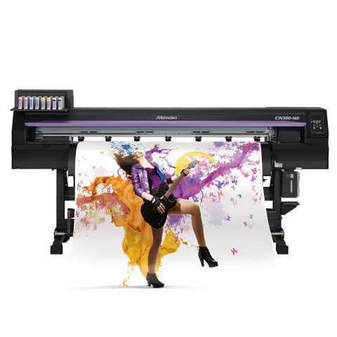 The Mimaki CJV300 high performance integrated print and cut solvent printer.