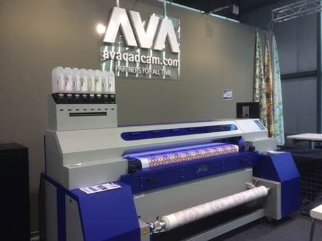 World-wide textile software specialists AVA CAD CAM showing their Digital Print Design & Colour Solutions working with the MTEX Blue pigment printers at Heimtextil 2016