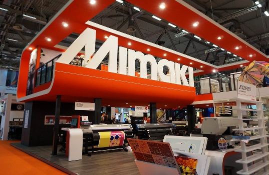 The Mimaki stand at FESPA showcased the company's range of wide format inkjet and cutting solutions