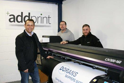 Robert Doyle, Declan Conroy and Andy Preston from AddPrint Ltd with the Mimaki CJV300-160.