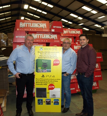 From left, CMYUK director Robin East with Nene Packaging's Rob Lugmayer and son David Lugmayer