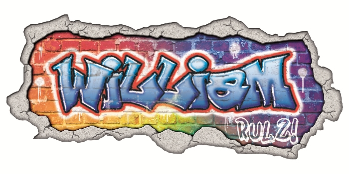 The wall mural that Halligan Raby's Jamie Mallin created using UTACK media from CMYUK and a sample 'graffiti' wall decal