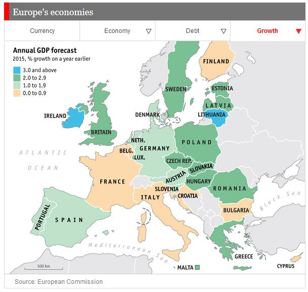EU projected GDP forecast 2015