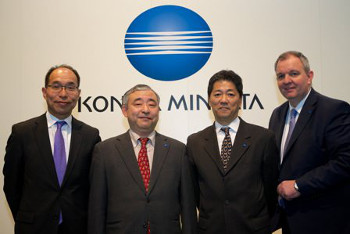 Konica Minolta press conference (from left to right): Toshitaka Uemura, General Manager, CP Business Division/Sales Headquarters, Konica Minolta, Inc; Akiyoshi Ohno, Executive Officer, Division Director, Inkjet Business Unit, Konica Minolta, Inc; Ikuo Nakagawa, President, Konica Minolta Business Solutions Europe; and Olaf Lorenz, General Manager, International Marketing Division, Konica Minolta Business Solutions Europe