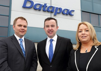Pictured at the announcement is (L to R) Patrick Kickham, director, Datapac, Brian Hayes T.D., Minister of State at the Department of Public Expenditure and Reform, and Clara Quigley, sales manager, Datapac